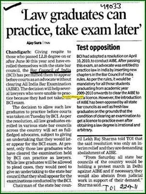 Law Graduates can practice as Advocate and take AIBE exam later
