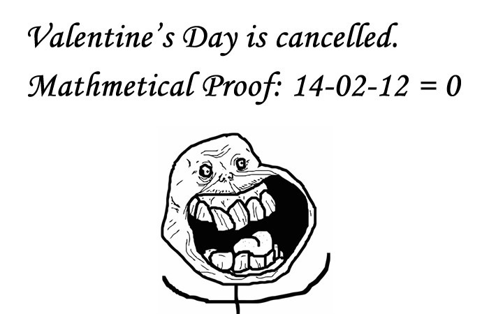 Valentine's Day Is Canceled - Mathematical Proof That 14-02-12 equal to 0