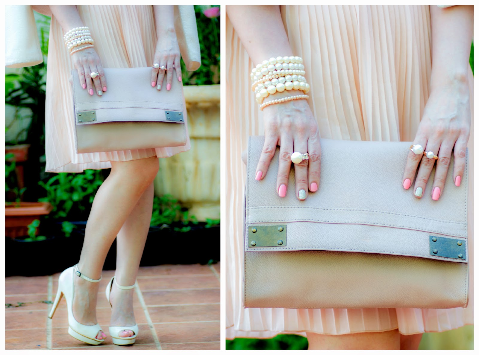 Pink Bag, Pearl jewelry, White heels
