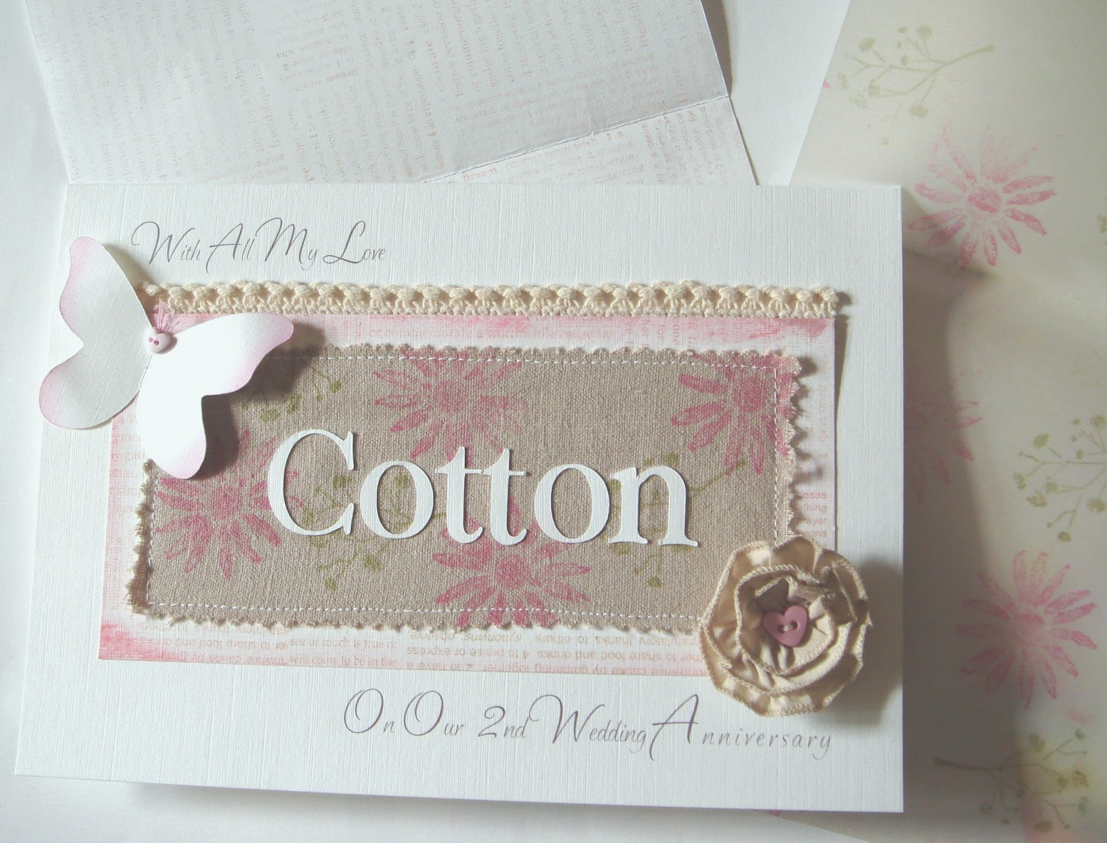 2nd Wedding Anniversary Ideas Cotton : ... cotton fabric and butterfly, the card was placed in the box with