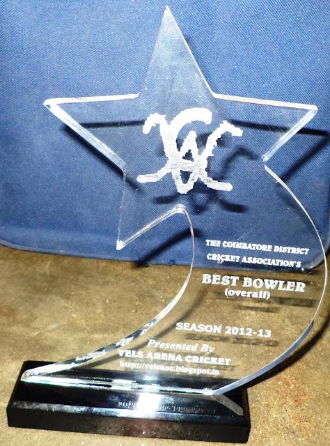 Coimbatore's Best Bowler Award 2012-13