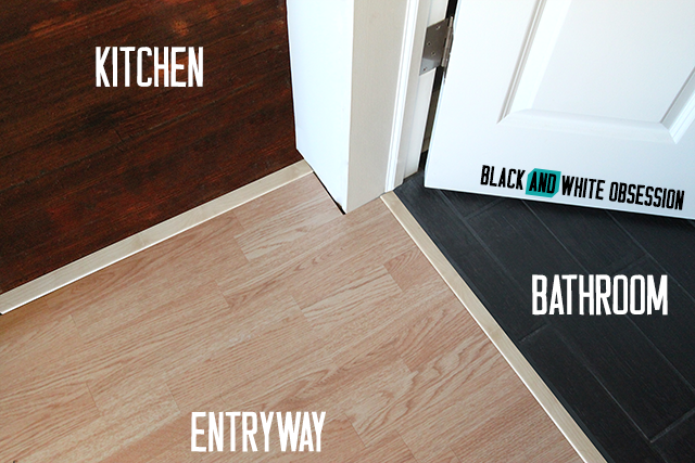 Three different flooring styles come together | Installing New Tarkett Plank Flooring in our Entryway | www.blackandwhiteobsession.com