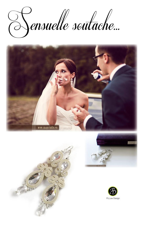 Smukłe kolczyki ślubne sutasz