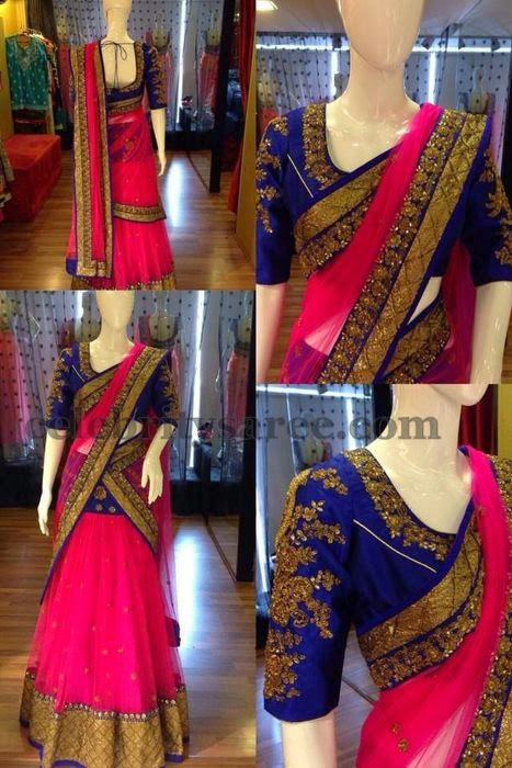 Half Saree with Elbow Length Blouse
