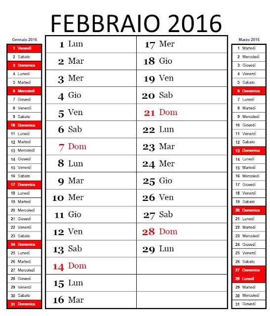 Calendario mensile 2016 - febbraio