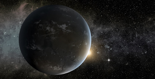 An artist's conception of Kepler-62f, a super-Earth-sized planet that orbits a star smaller and cooler than the sun, located about 1,200 light-years from Earth in the constellation Lyra. The small shining object seen to the right of Kepler-62f is Kepler-62e, which is roughly 60 percent larger than Earth. Image credit: NASA Ames/JPL-Caltech/Tim Pyle