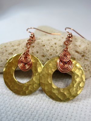 Copper Spiral and Washer Earrigns