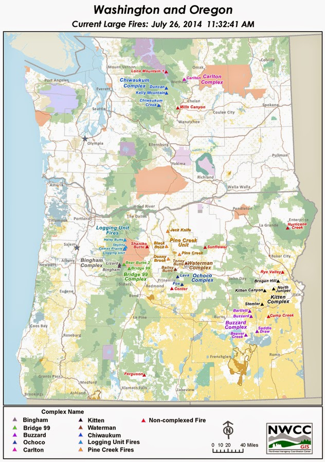 Northwest Interagency Coordination Center 7 26 2014 Large Fire Map