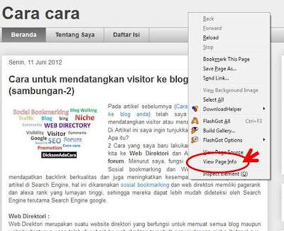 klik kanan untuk mendapatkan view page info