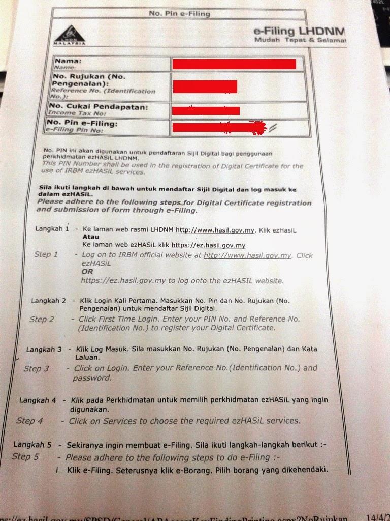 Langkah untuk mendaftar E-filing adalah seperti berikut;