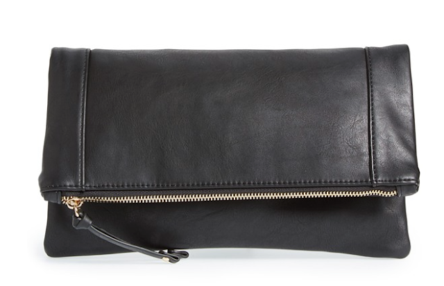 Sole Society Vegan Leather Foldover Clutch $39.95
