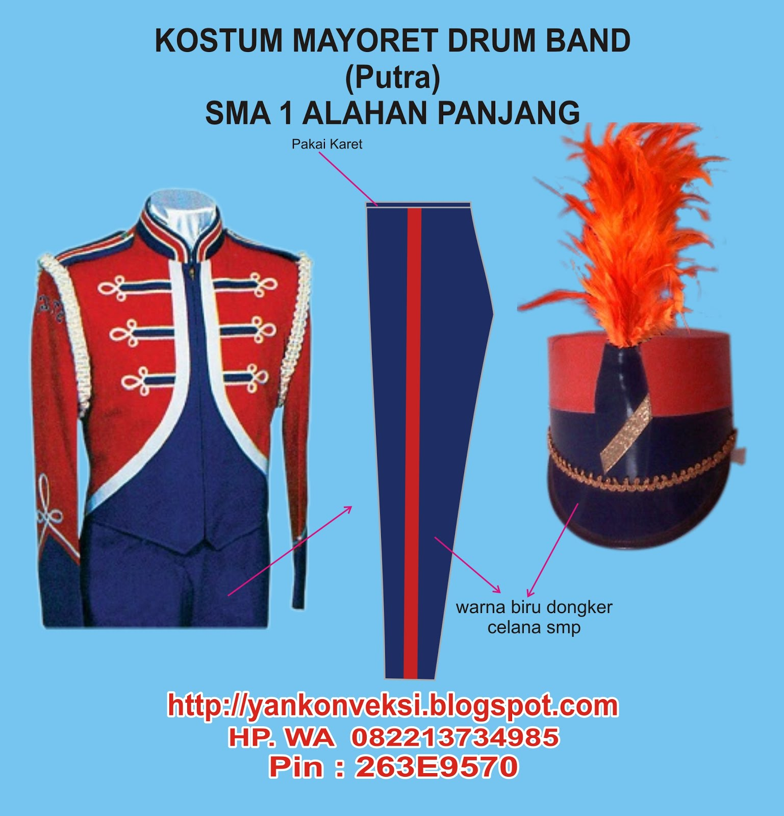 KOSTUM MAYORET PUTRA DRUM BAND DAN MARCHING BAND