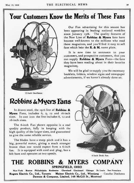 r%26M%2Bad%2BMay%2B1916 early electric fans robbins & myers list 1404 desk fans, 1911 1915 robbins and myers fan motor wiring diagram at crackthecode.co