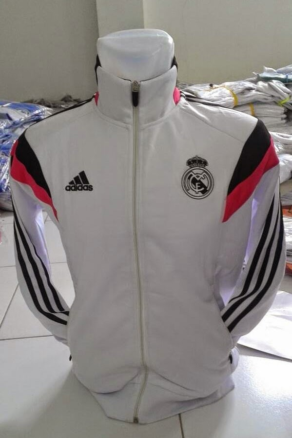 Distributor Jaket Grade Ori Real Madrid Home 2015 White, Black, Pink