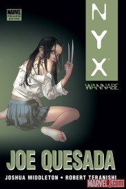 Cover of Wannabe, featuring a pale-skinned girl with long, dark hair and claws coming out of her knuckles. She kneels with her back to the viewer and her face twisted towards us. She wears a stereotypical schoolgirl's uniform in clear disarray, sans shoes and stockings.