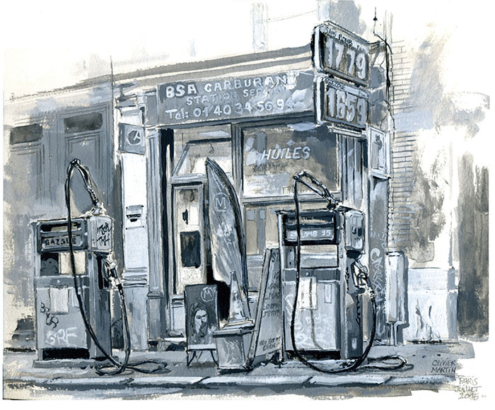 Old Gas Station Drawing Gurney Journey:...