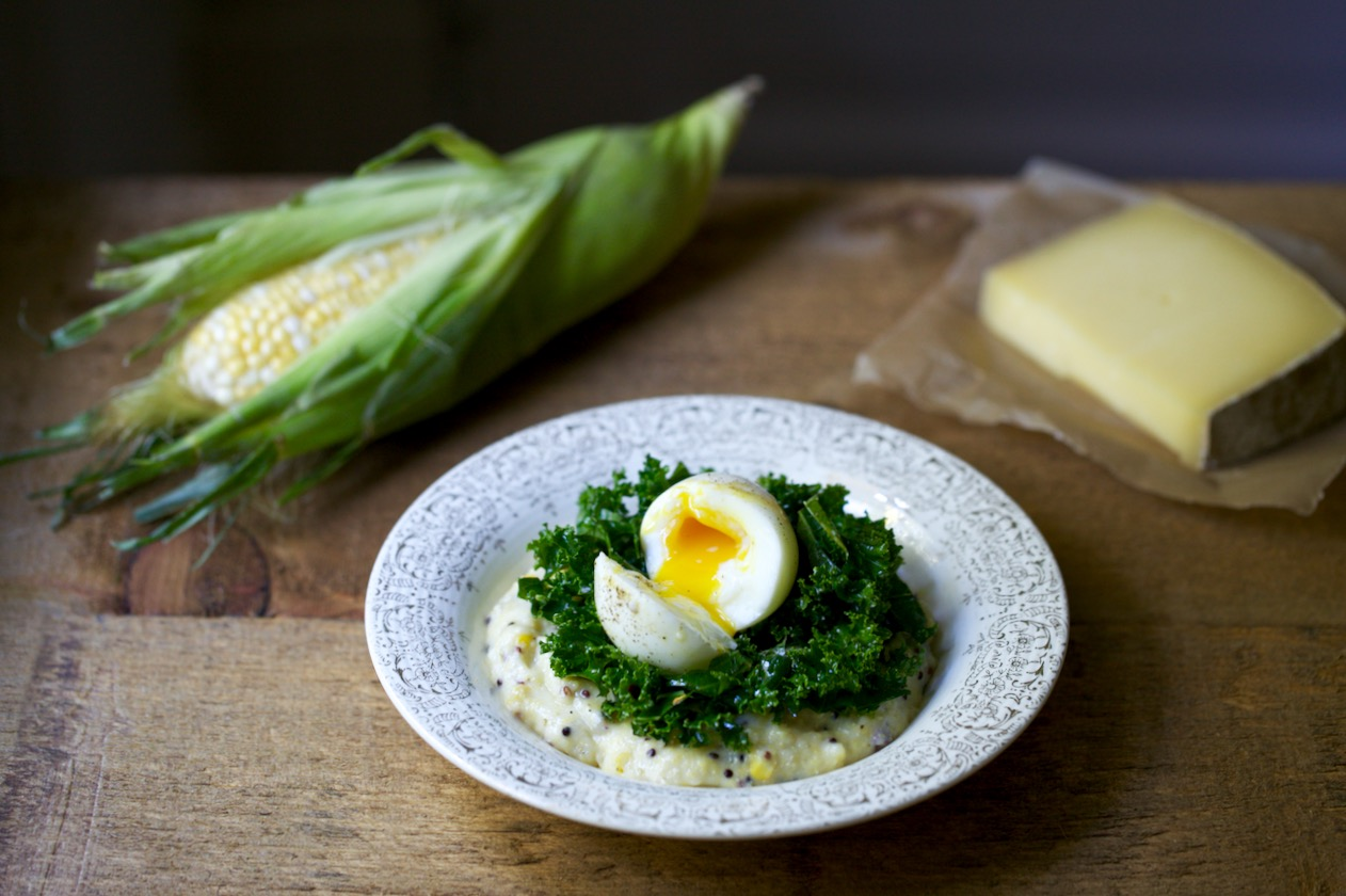 Polenta with Fresh Corn, Quinoa & Marinated Kale