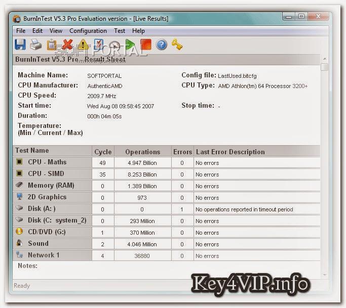PassMark BurnInTest Pro 8.0 Build 1040 Full Key,Phần mềm kiểm tra liên tục hoạt động của CPU, bộ nhớ, card màn hình, ổ cứng..