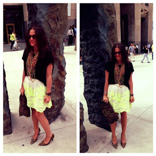 Free People neon embroidered A-line skirt, A-line flattering skirts, neon clothing, neon embroidery, tresics basic tshirt, tee by tresics, tiger stripe heels, striped heels, tiger pumps, pony hair shoes and heels, fendi vintage bag, fendi clutch, Louis Vuitton snap bracelet, Colombian handmade necklace, funky nyc fashion, mount Vernon new York city, mt Vernon hotel museum, nyc museum, upper east side museum and style new York, historical landmarks nyc, what to wear when in ny Rockefeller center, fashion near Rockefeller center