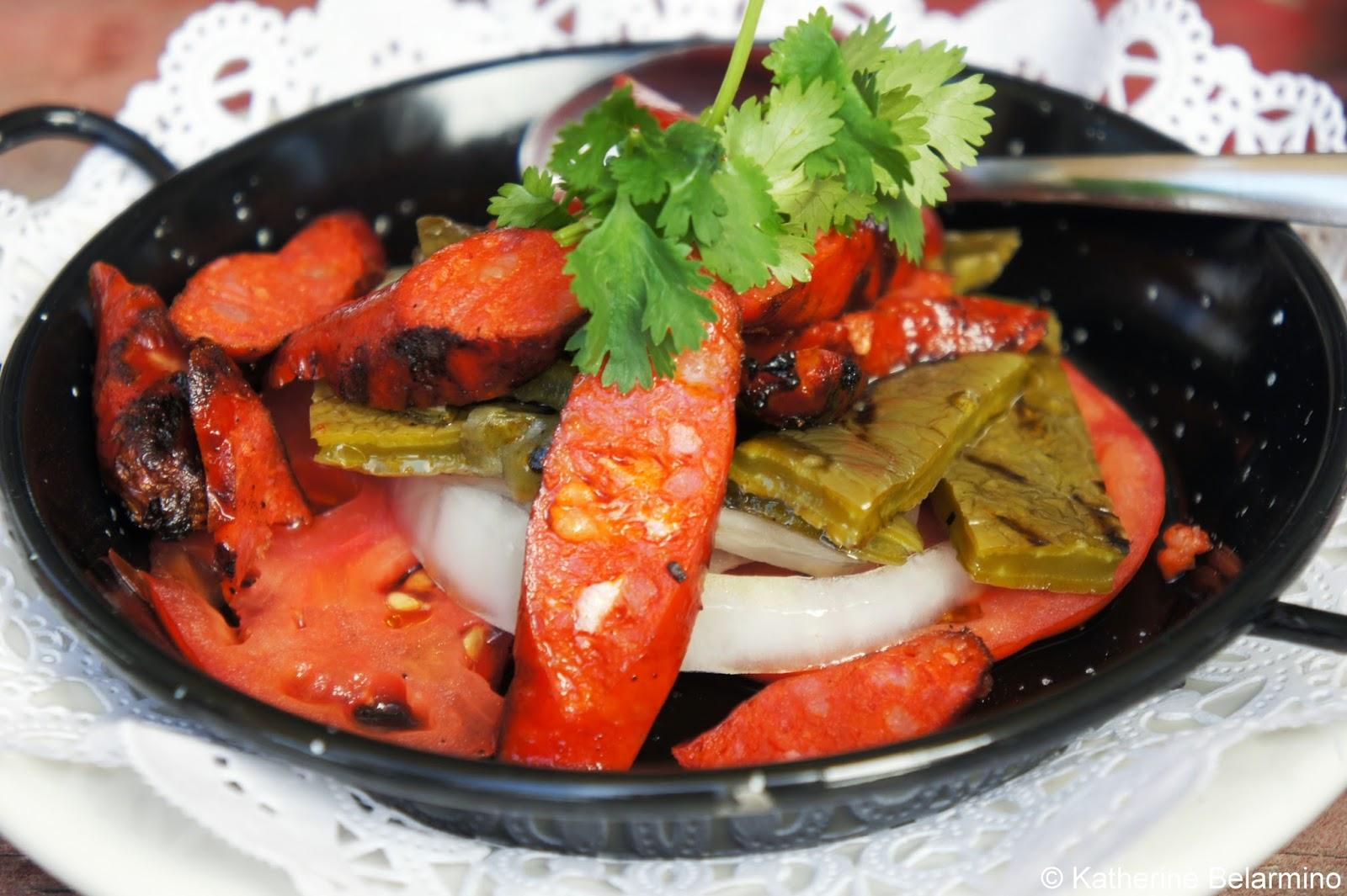 La Terrasse San Roman Chorizo, Cactus, Tomato and Onions Valle de Guadalupe Baja California Mexico