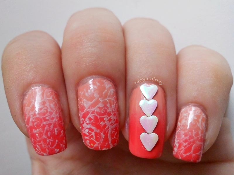 Coral Gradient + White Stamping + Hearts Studs BPS Nails Nail Art Nail Design