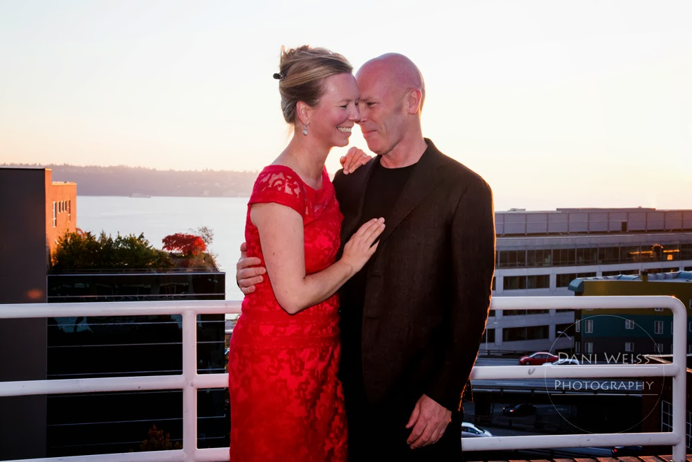 Sunset view of Chris and Ulrica - Patricia Stimac, Seattle Wedding Officiant
