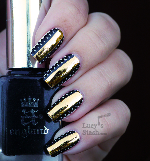 Lucy's Stash - Gold foil stripe &amp; dots nail art manicure