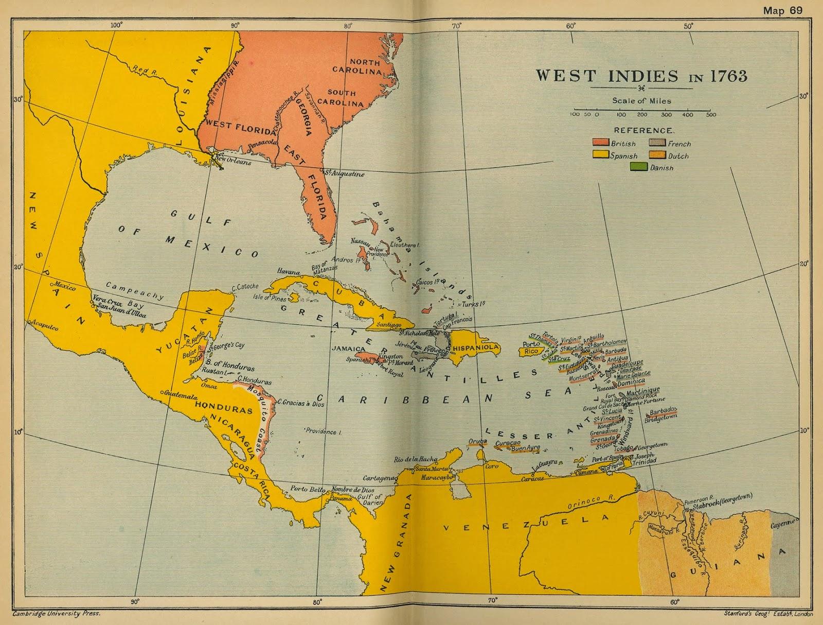 British West Indies Islands Map