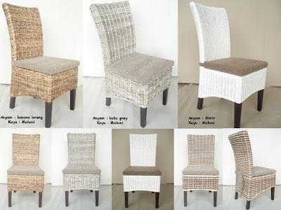 model kursi makan dgn bahan anyaman yg berbeda