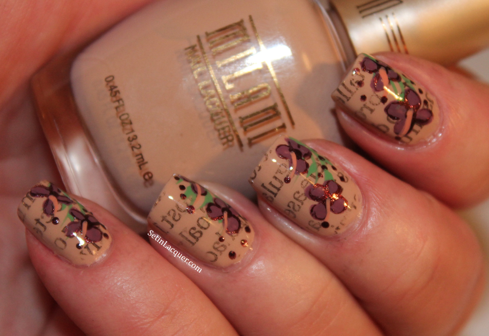 Newsprint nail art with floral accents using Milani