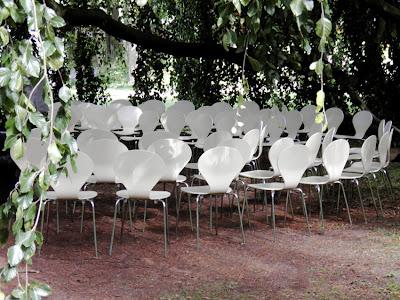 Viele im Dreifachkreis aufgestellte weiße Stühle stehen auf rotbraunem Waldboden unter dem dunkelgrünen Blattwerk von Bäumen. Wir sehen nur einen Ausschnitt, etwa die Hälfte ... Die Sonne scheint.