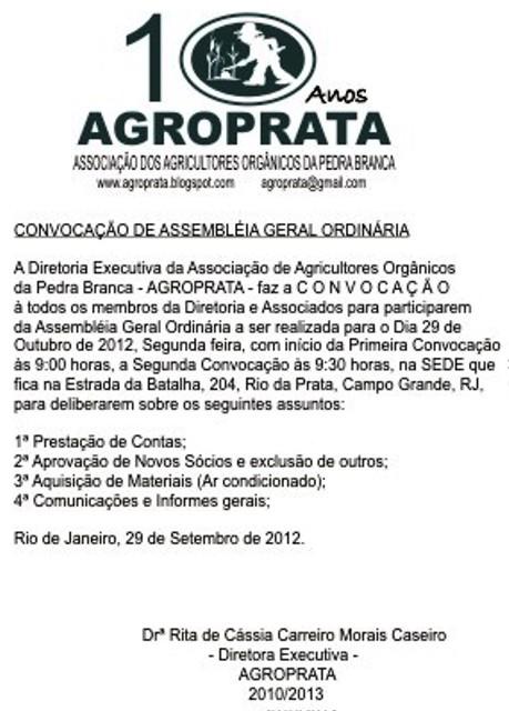 Convocação da Assembléia Geral Ordinária da Agroprata