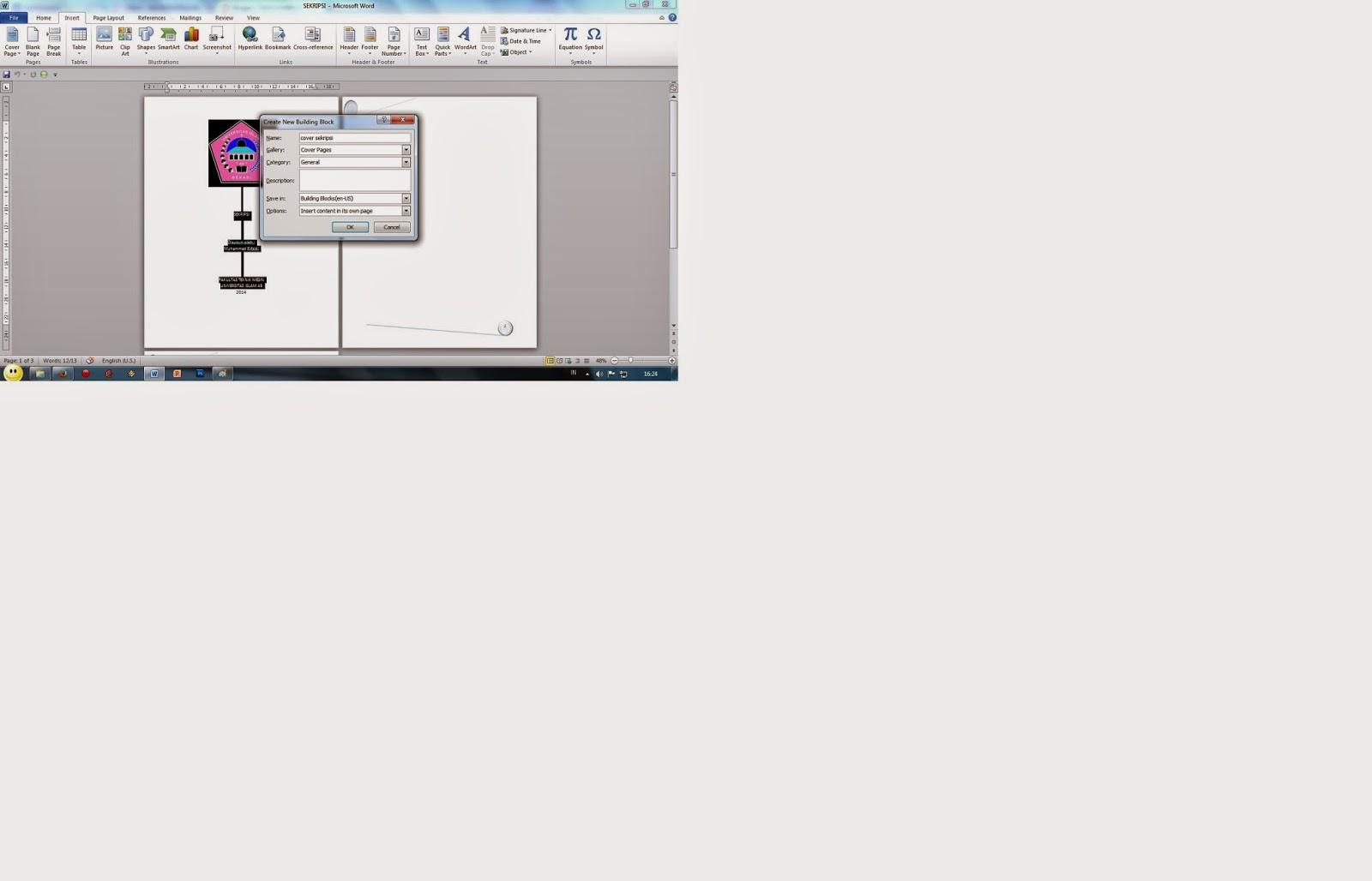 tugas komputer membuat new cover page blank page dan page break lalu klik save selection to cover page gallery maka akan muncul gambar seperti dibawah ini