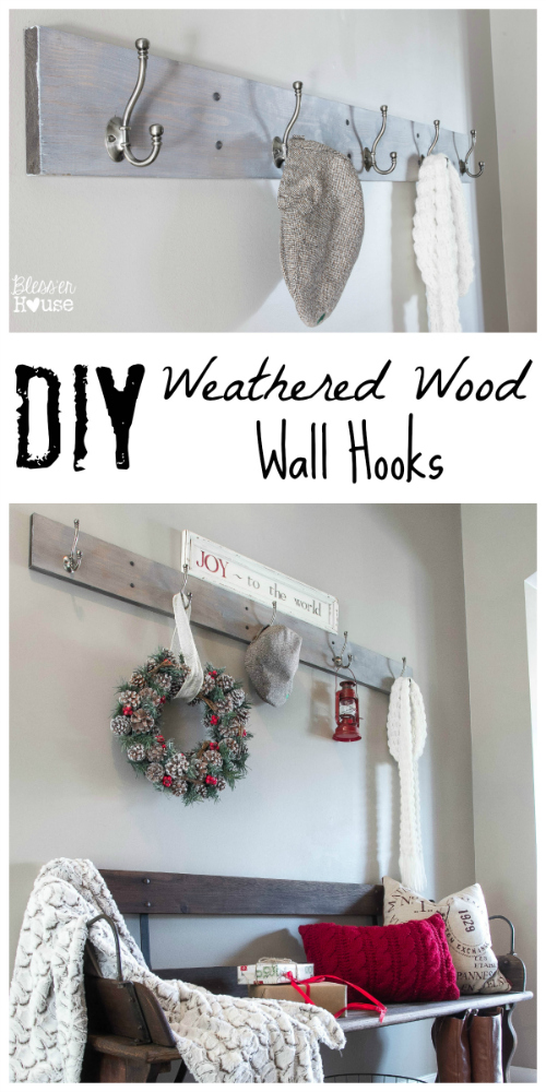 Bless'er House | DIY Weathered Wood Wall Hook Rack - Simple to make and way cheaper than store bought