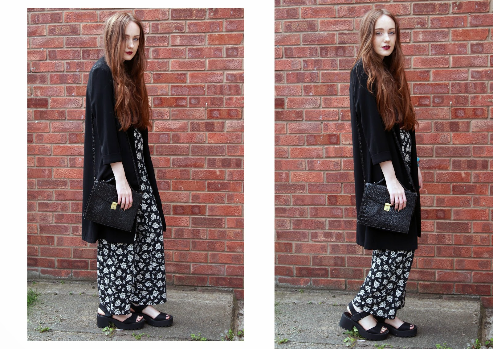 OOTD vampy lips and floral flares