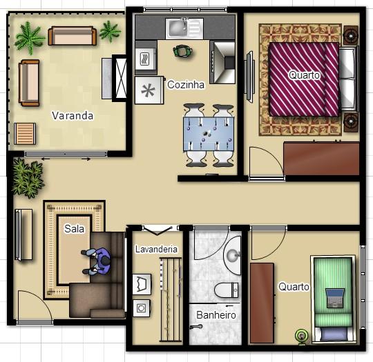 apartamento pequeno decorado, planta