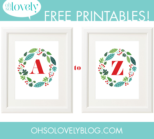 FREEBIES // A-Z MONOGRAM HOLIDAY WREATHS - Oh So Lovely Blog