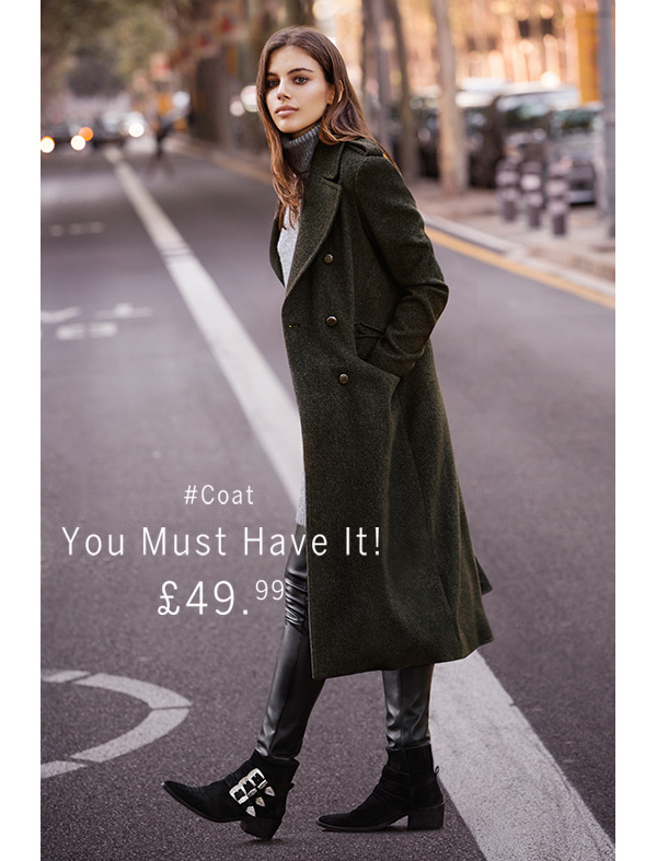 Bershka Long Coat Military