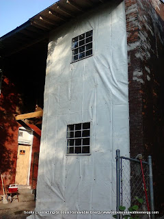 Photo is the Water and Vapor Barrier used to seal the wall frame-Scotts Contracting,St Louis Renewable Energy