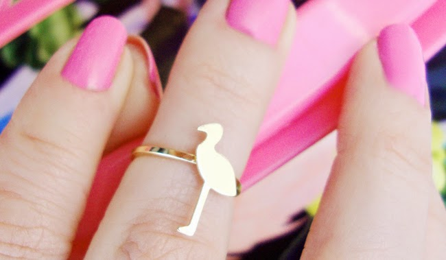 topshop flamingo ring, midi ring, golden flamingo