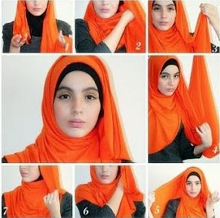 Cara Memakai Jilbab Pashmina Kaos