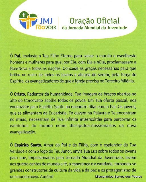 Oração Oficial da JMJ Rio 2013