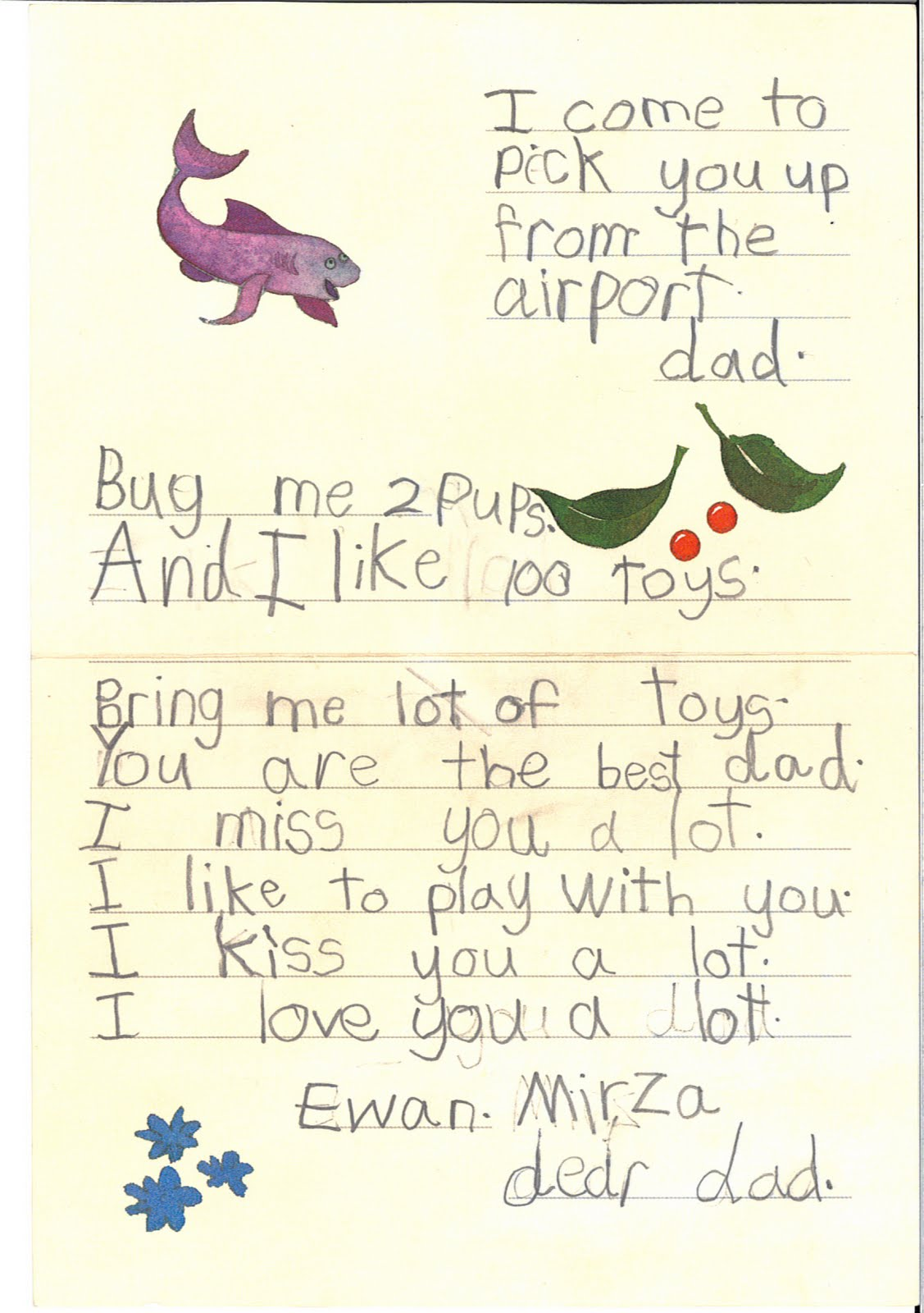 ewans first letter to dad