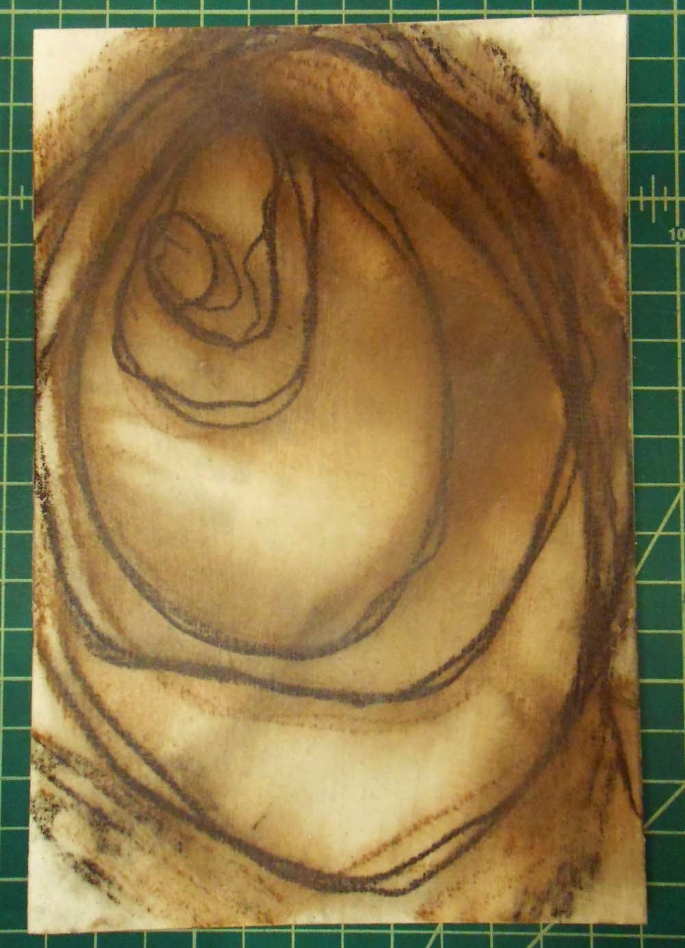 abstract art black brown charcoal watercolor alcohol foamcore underpainting