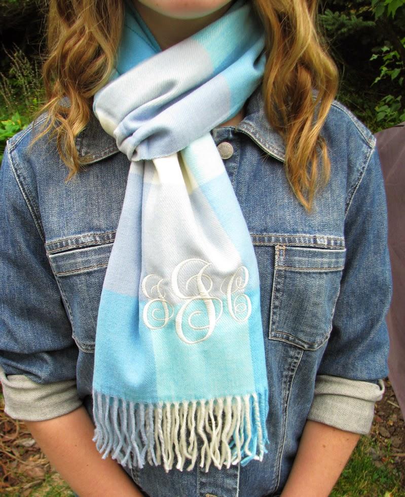 turquoise monogram scarf
