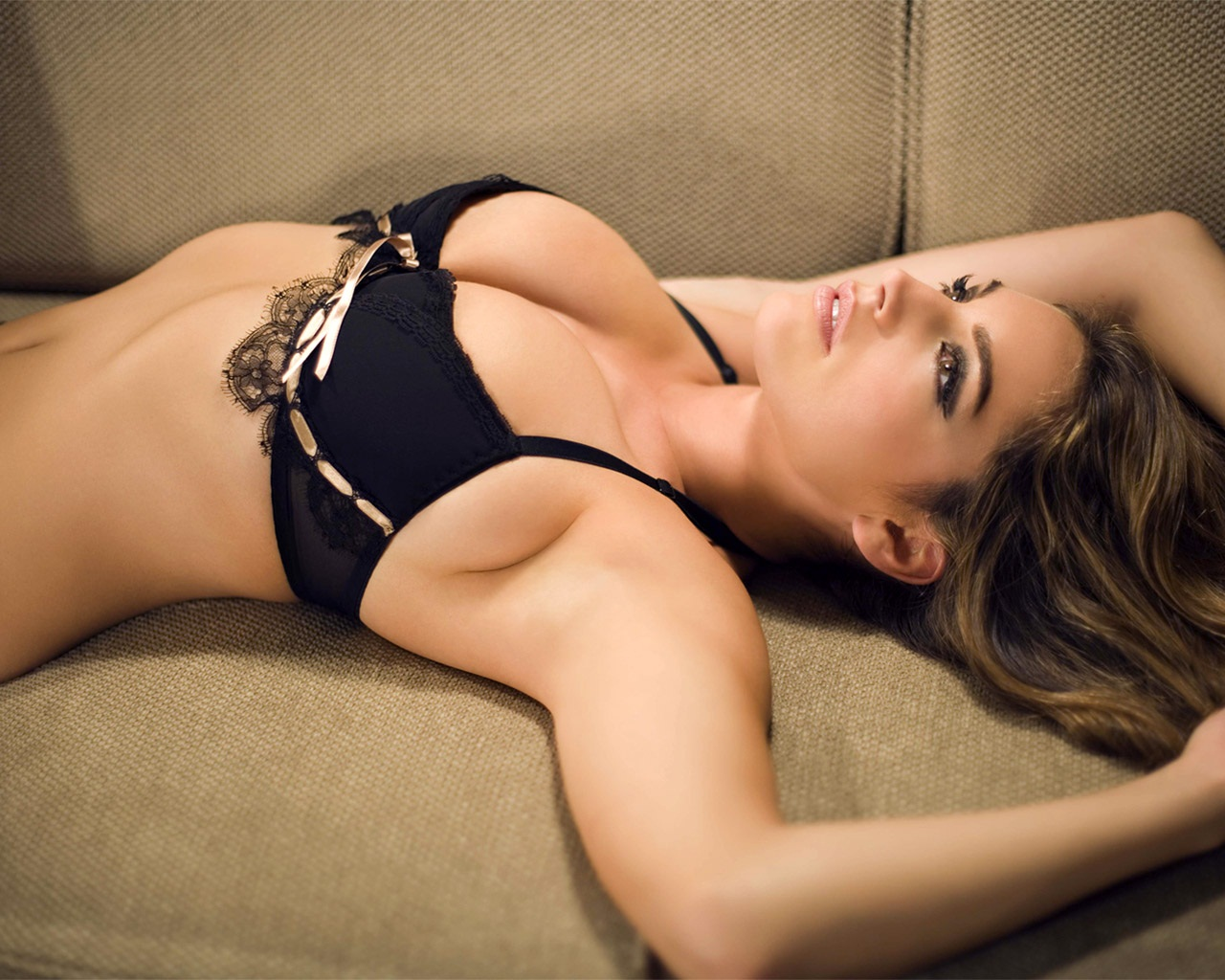 hot+and+sexy+Lingerie+Model+Laying+on+sofa+looks+erotic+in+black+bikini hot, sexy and erotic lingerie model in black bikini on bed looks really hot ...