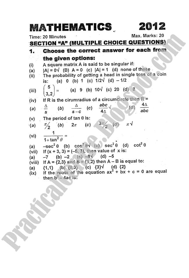 Mathematics-2012-five-year-paper-class-XI