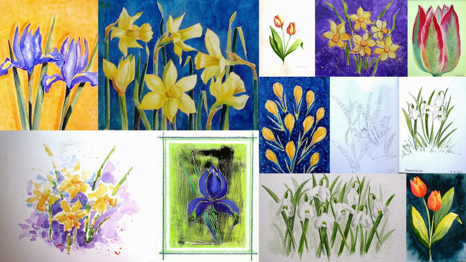 Angela batchelor artist paintings in acrylic watercolour and daffodil crocus iris and snowdrop paintings spring flower collection izmirmasajfo