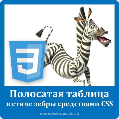 Полосатая таблица в стиле зебры средствами CSS