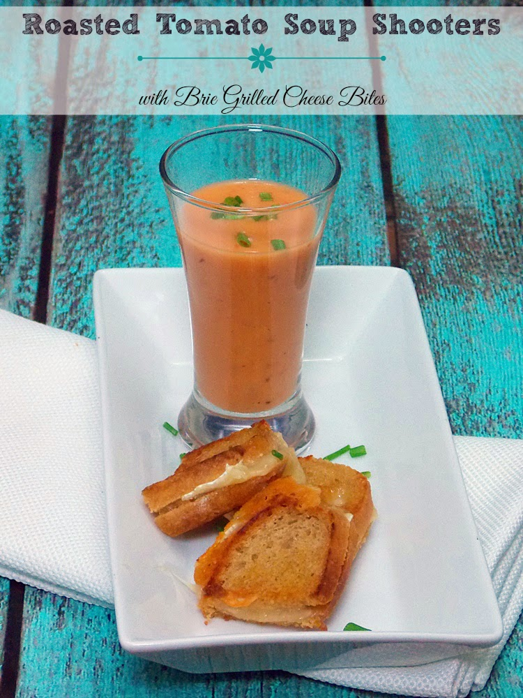 Roasted Tomato Soup Shooters with Brie Grilled Cheese Bites - sweet, creamy, salty, crunch making the perfect appetizer, tapa, or small plate.  Or, just serve up a bowl of soup with a little larger grilled cheese, you'll love it!